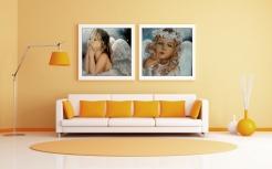 Wizualizacja obrazów aniołów na ścianie w salonie
